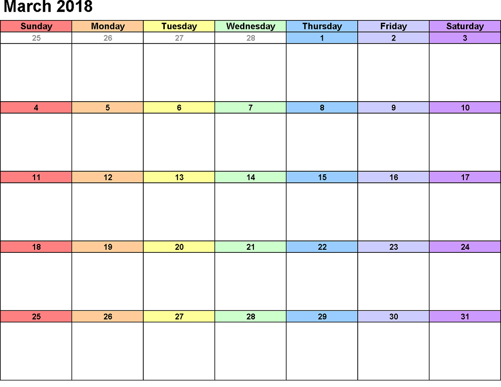 march calendar 2018 colorful