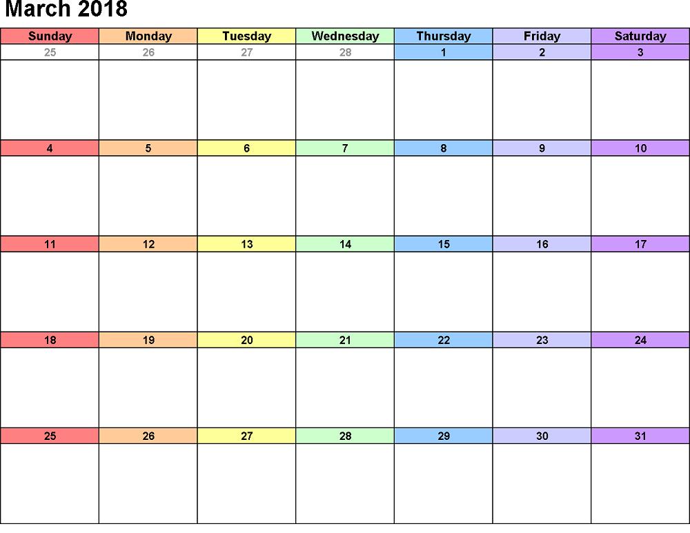 march calendar 2018 colorful