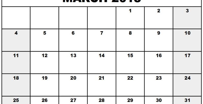 march calendar 2018 page