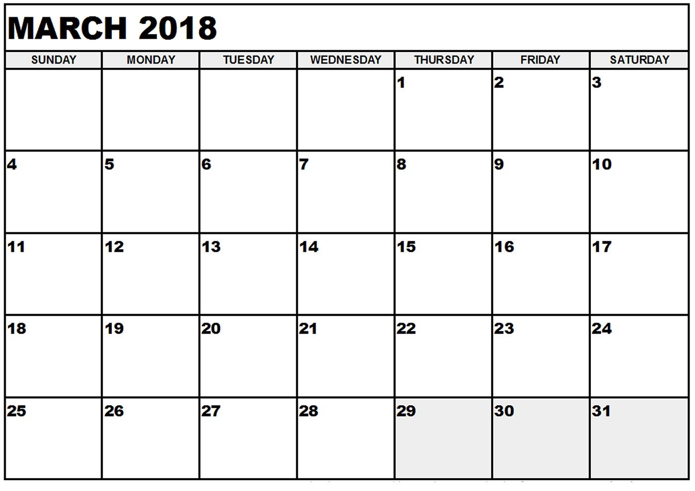 march calendar 2018 simple