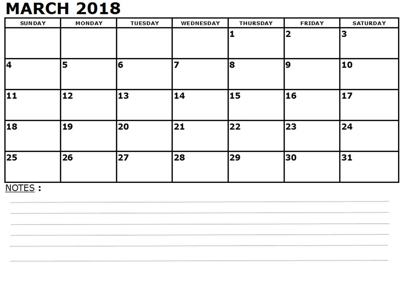 march calendar 2018 with notes
