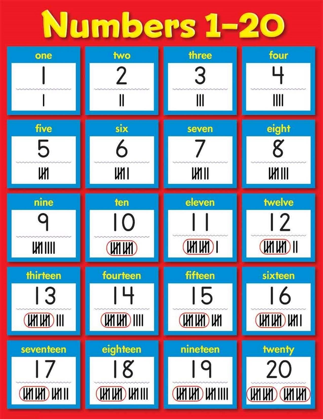 numbers 1-20 printable page