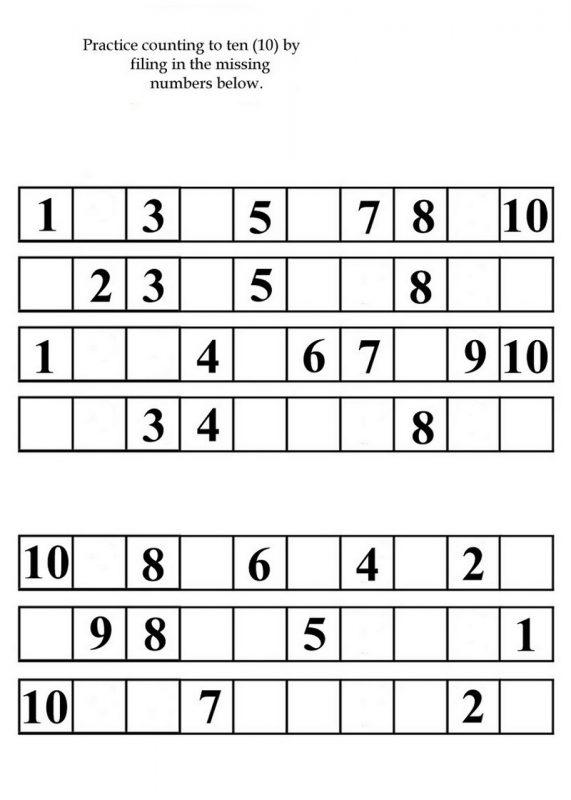 numbers to 10 worksheet printable