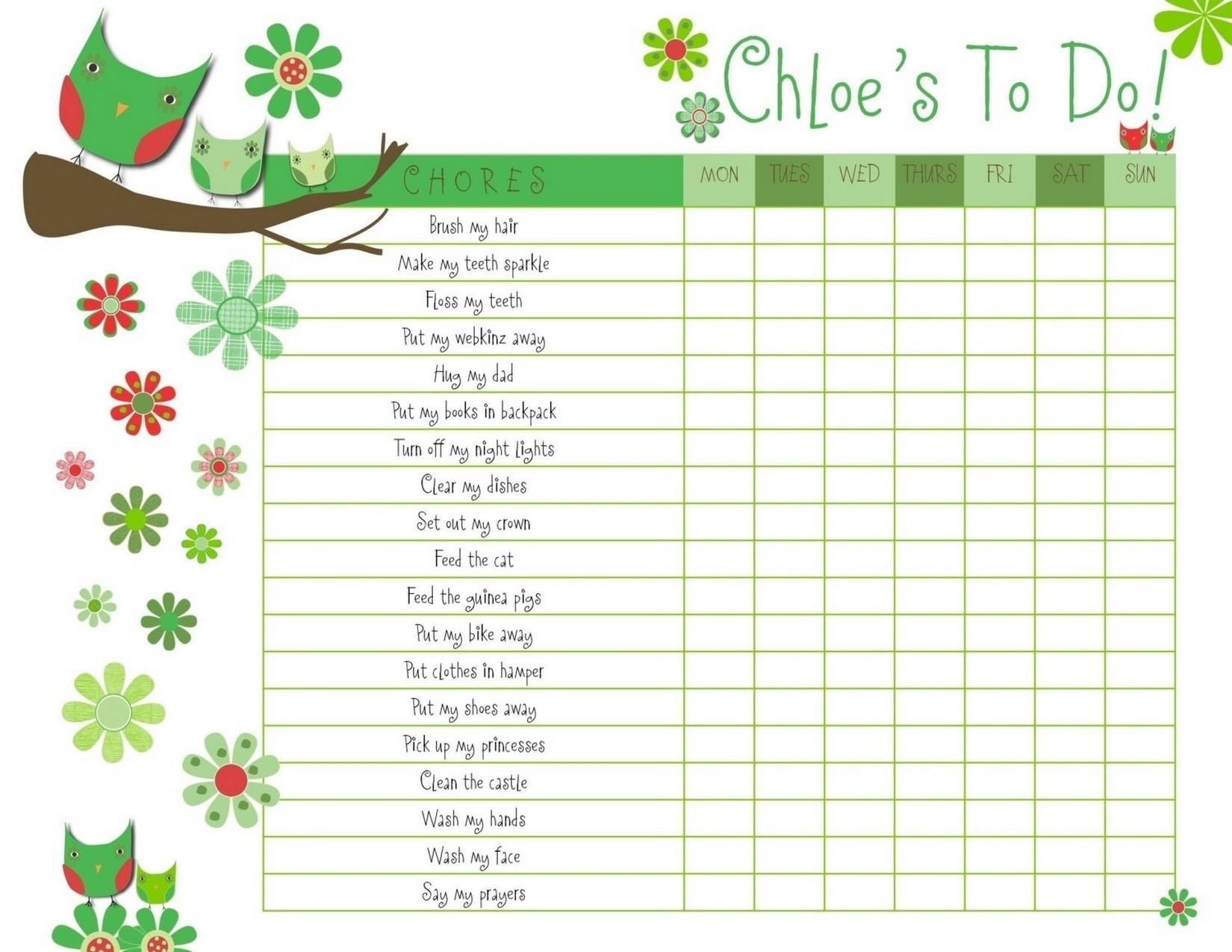 reward charts for kids blank