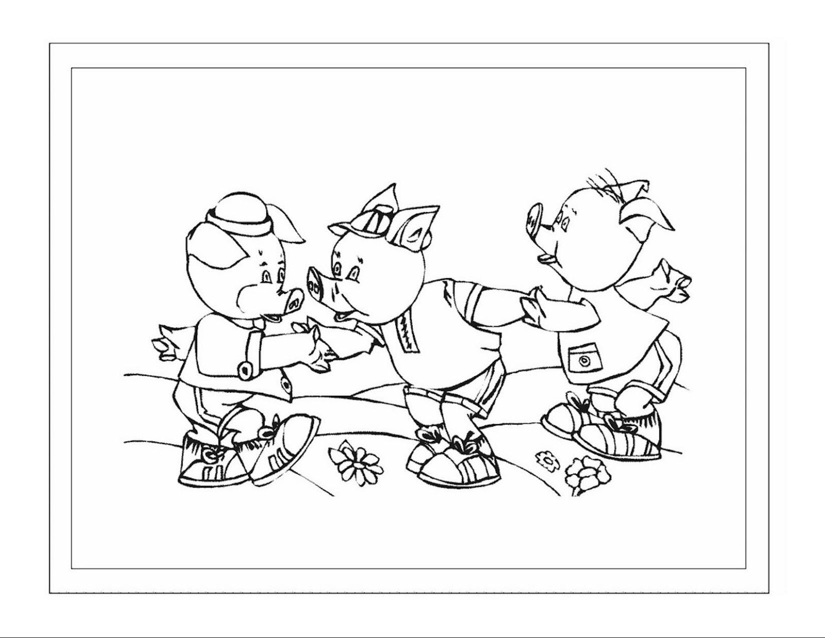 three little pigs coloring pages for preschool cartoon
