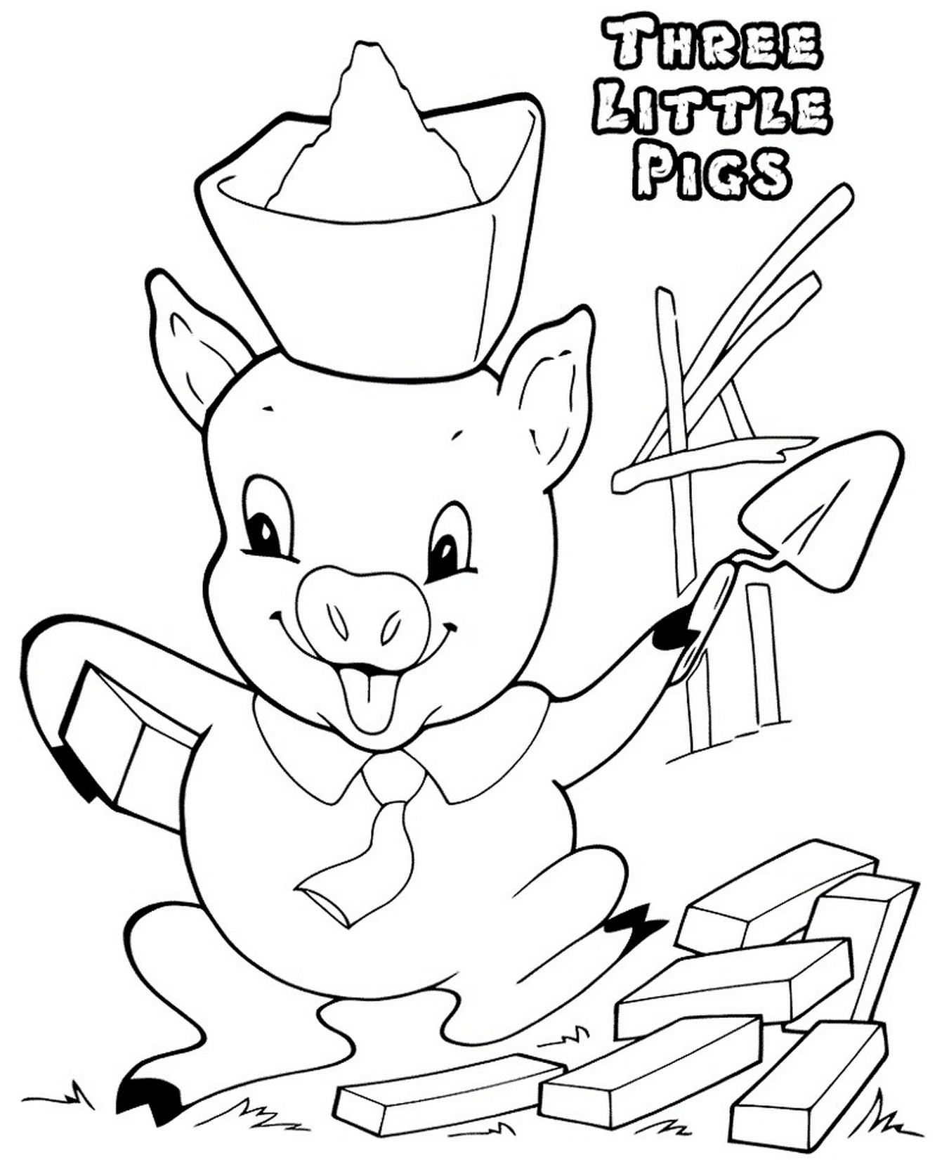 three little pigs coloring pages for preschool for kids