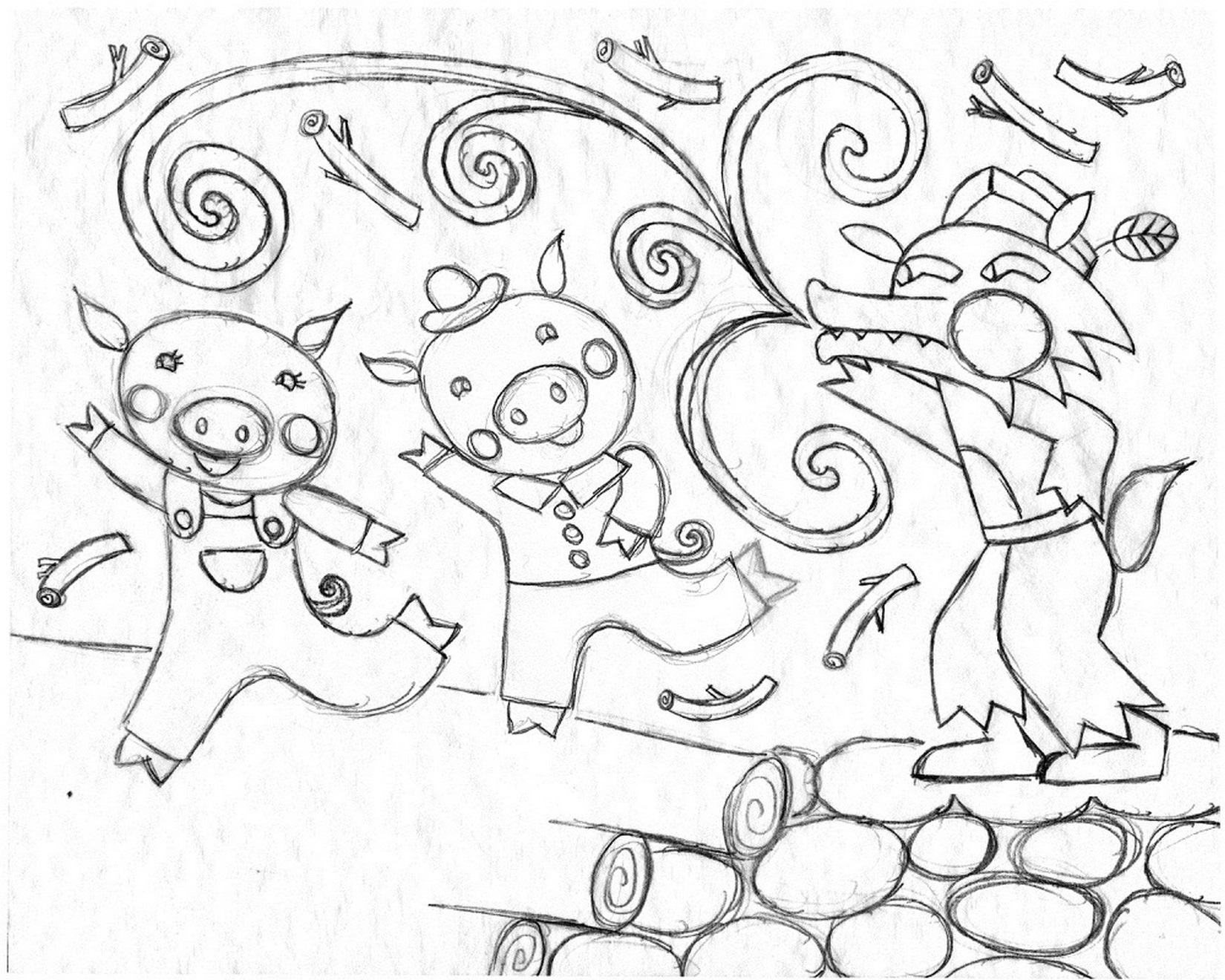 three little pigs coloring pages for preschool free