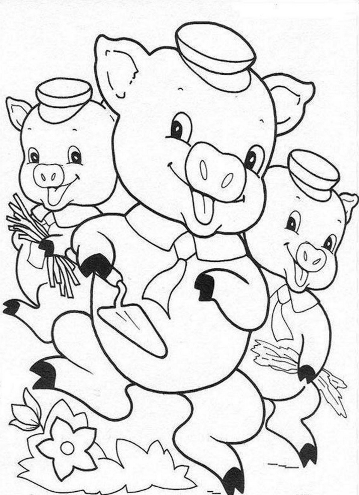 This is an image of Candid 3 Little Pigs Coloring Pages