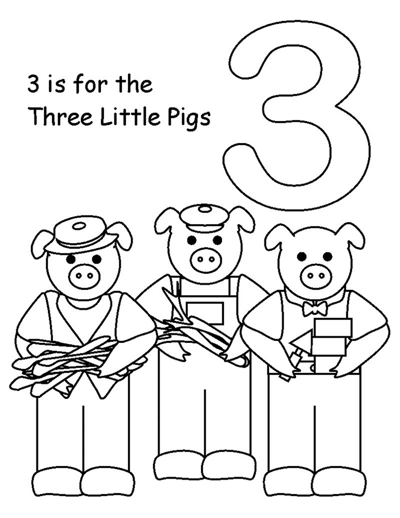 Three little pigs coloring pages for preschool learning for Coloring page for preschool