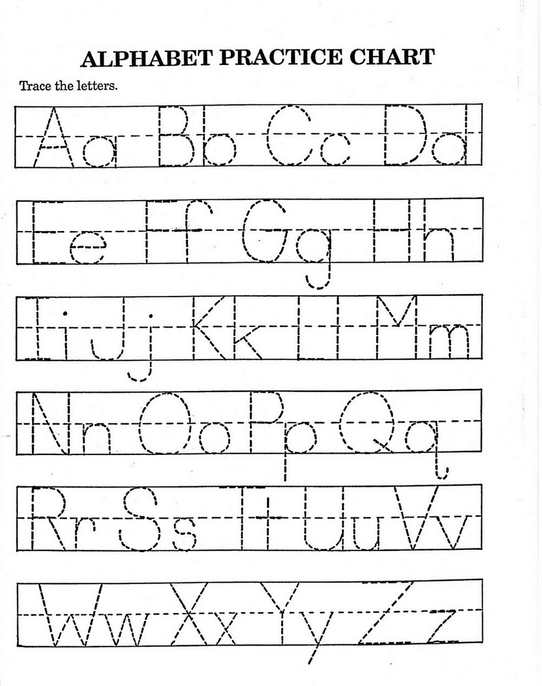 tracing letters a-z worksheets activity