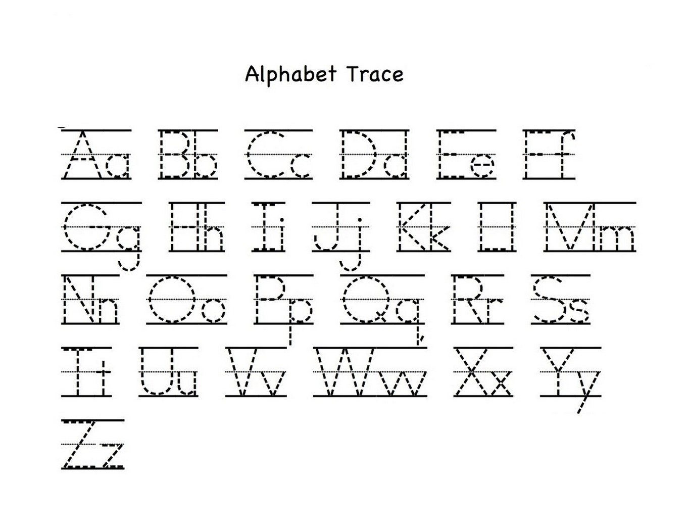 tracing letters a-z worksheets for kids
