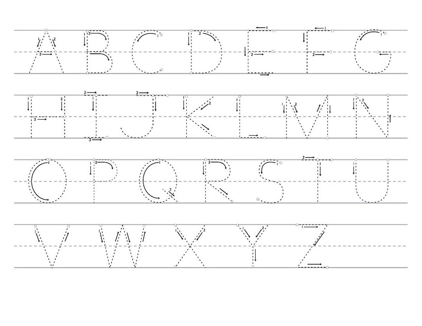 tracing letters a-z worksheets printable