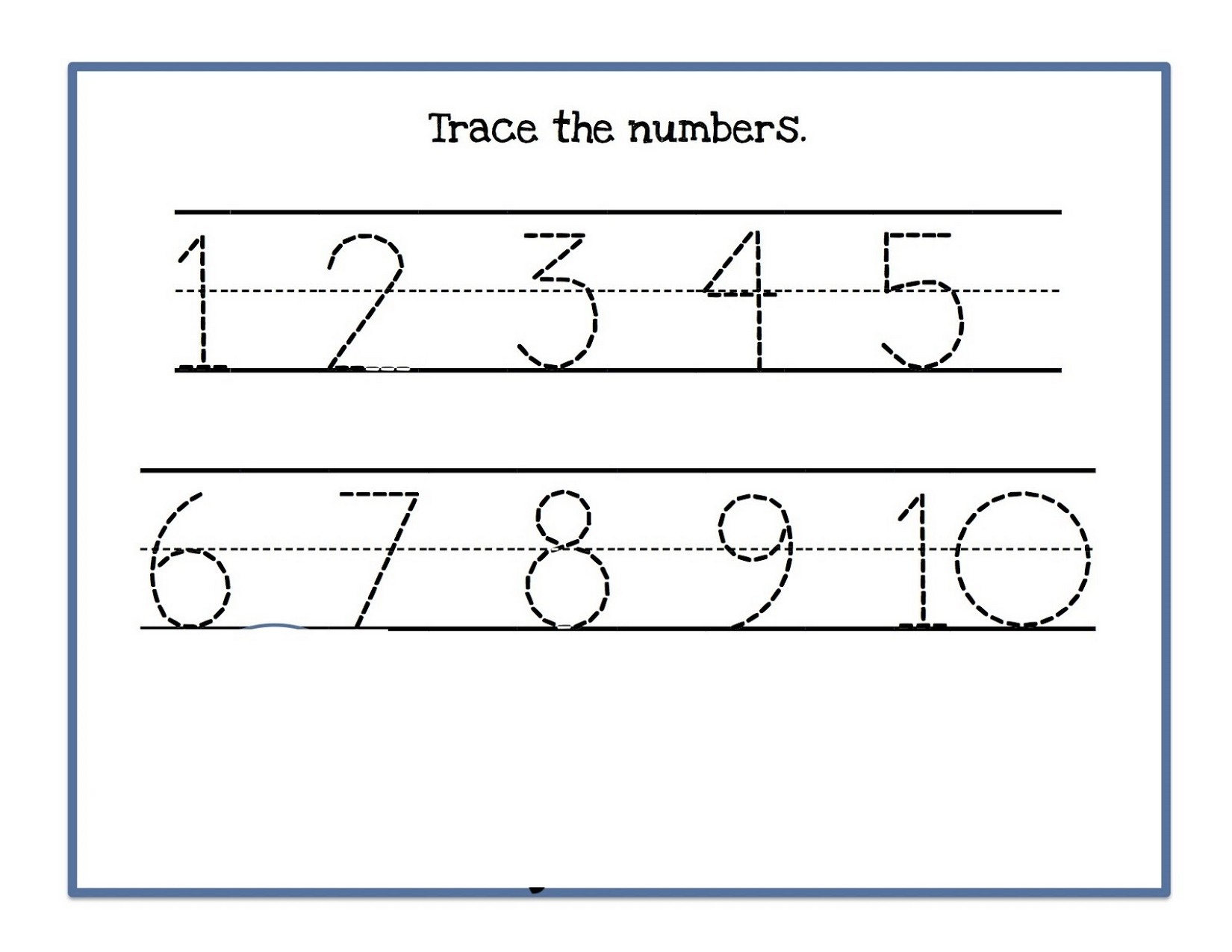 tracing numbers 1-10 worksheet for kids