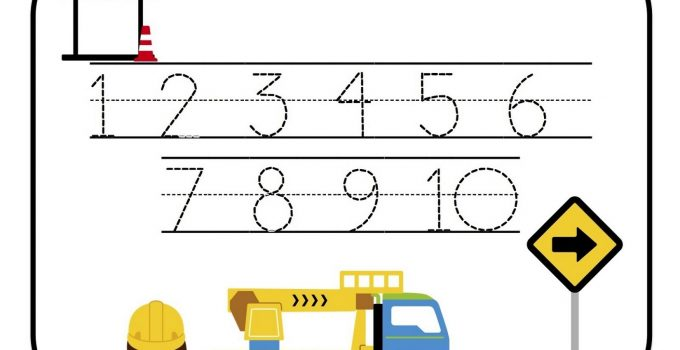tracing numbers 1-10 worksheet page