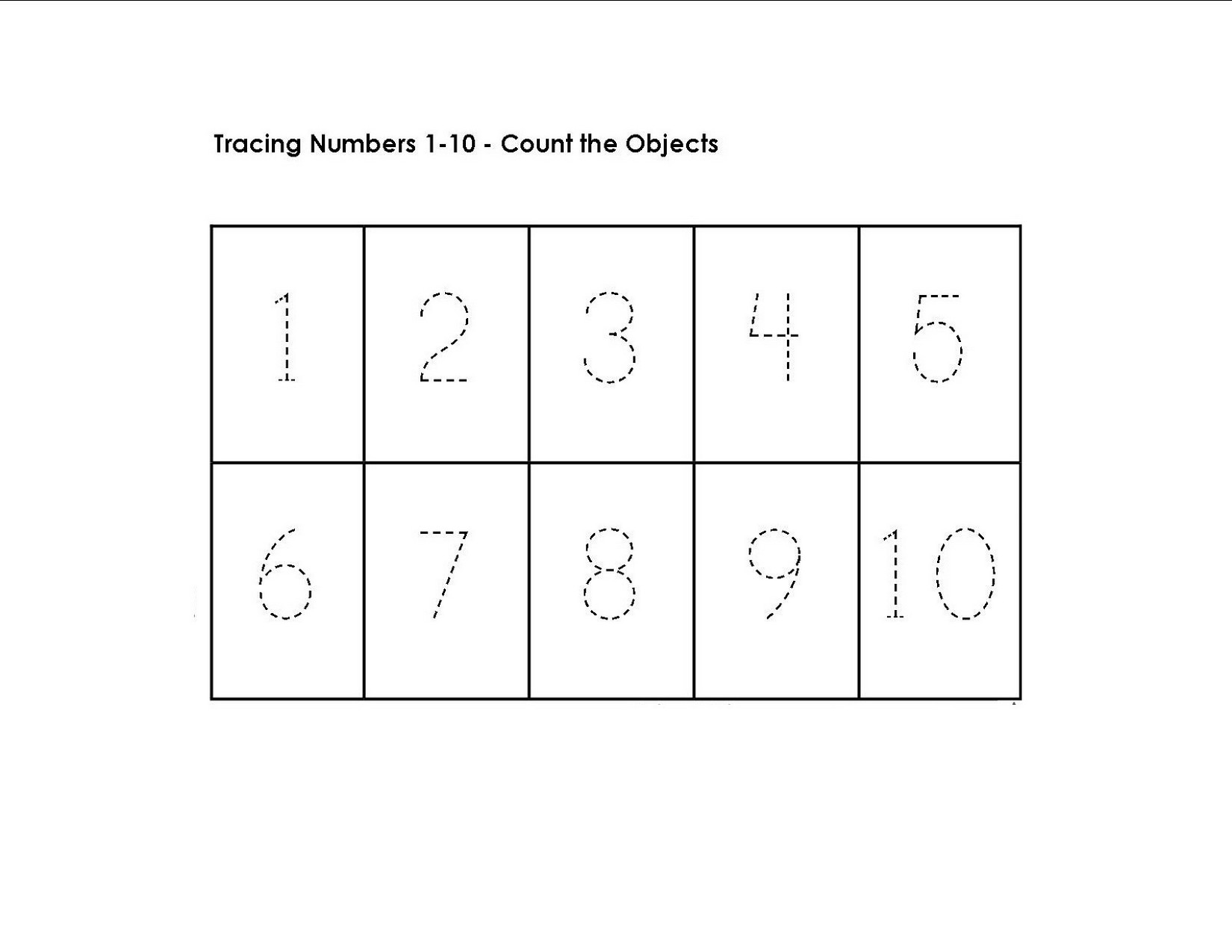 tracing numbers 1-10 worksheet printable