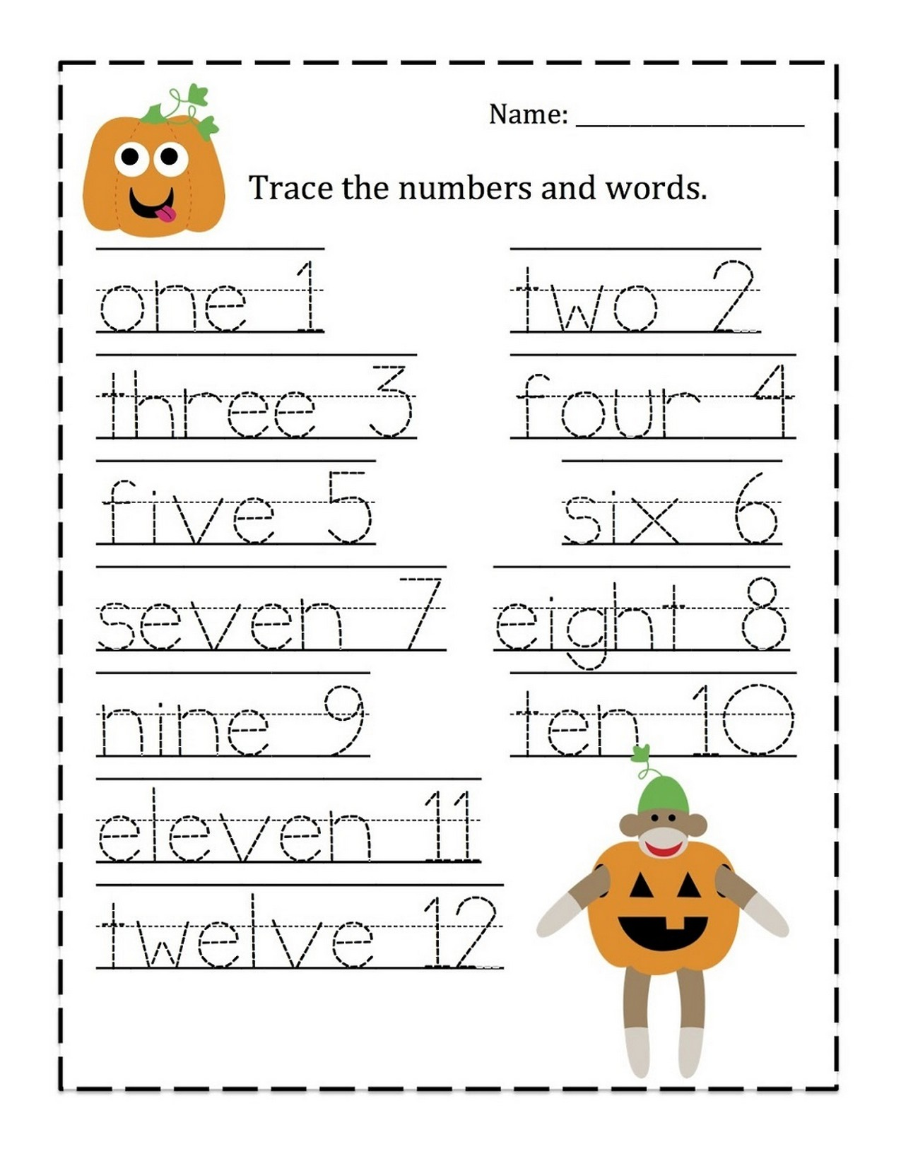 tracing numbers 1-10 worksheet words