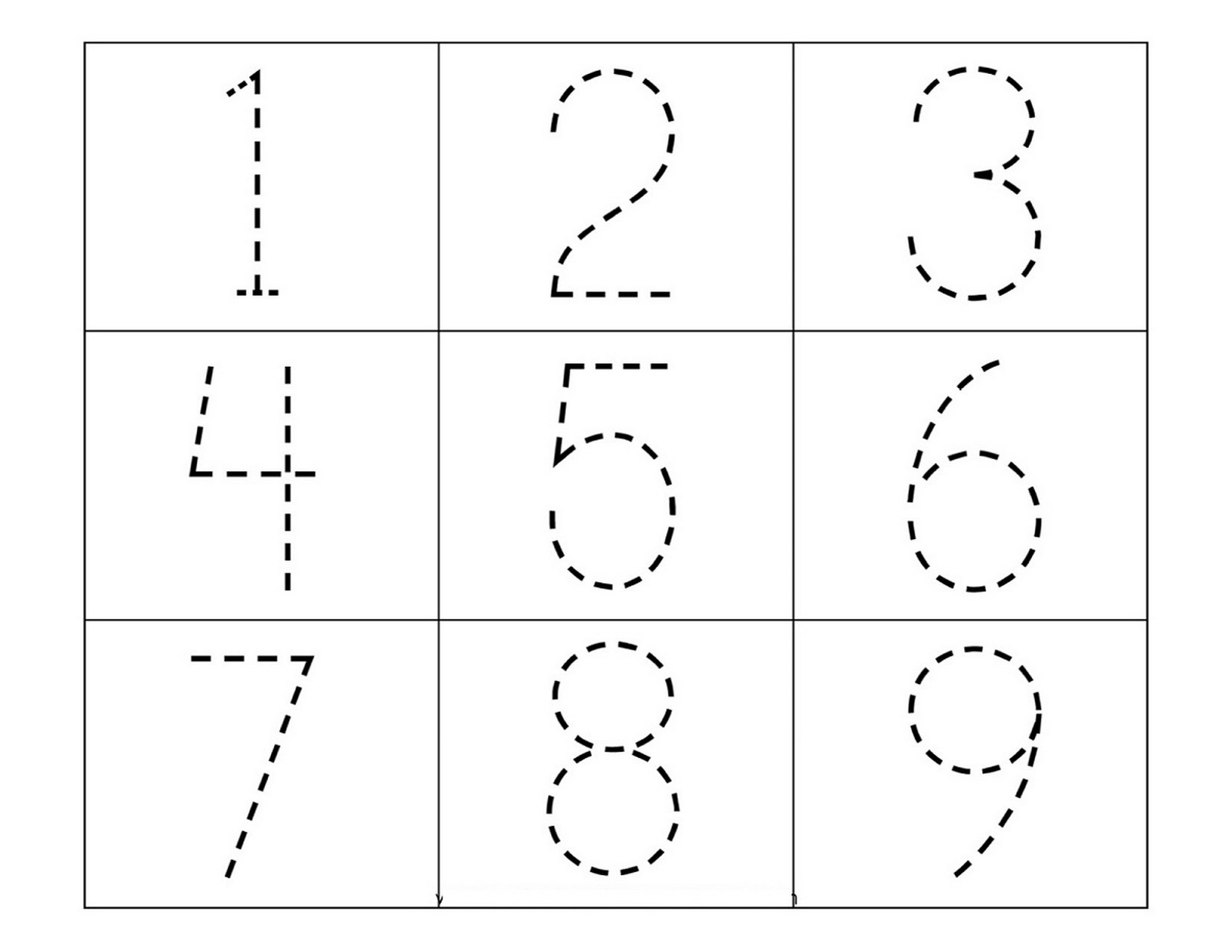tracing pages for preschool numbers