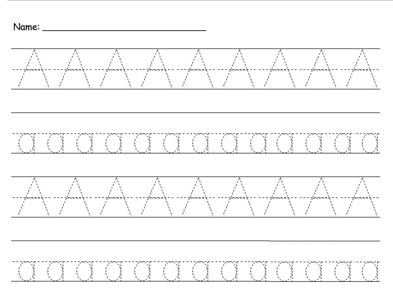 uppercase and lowercase letters tracing worksheet Aa
