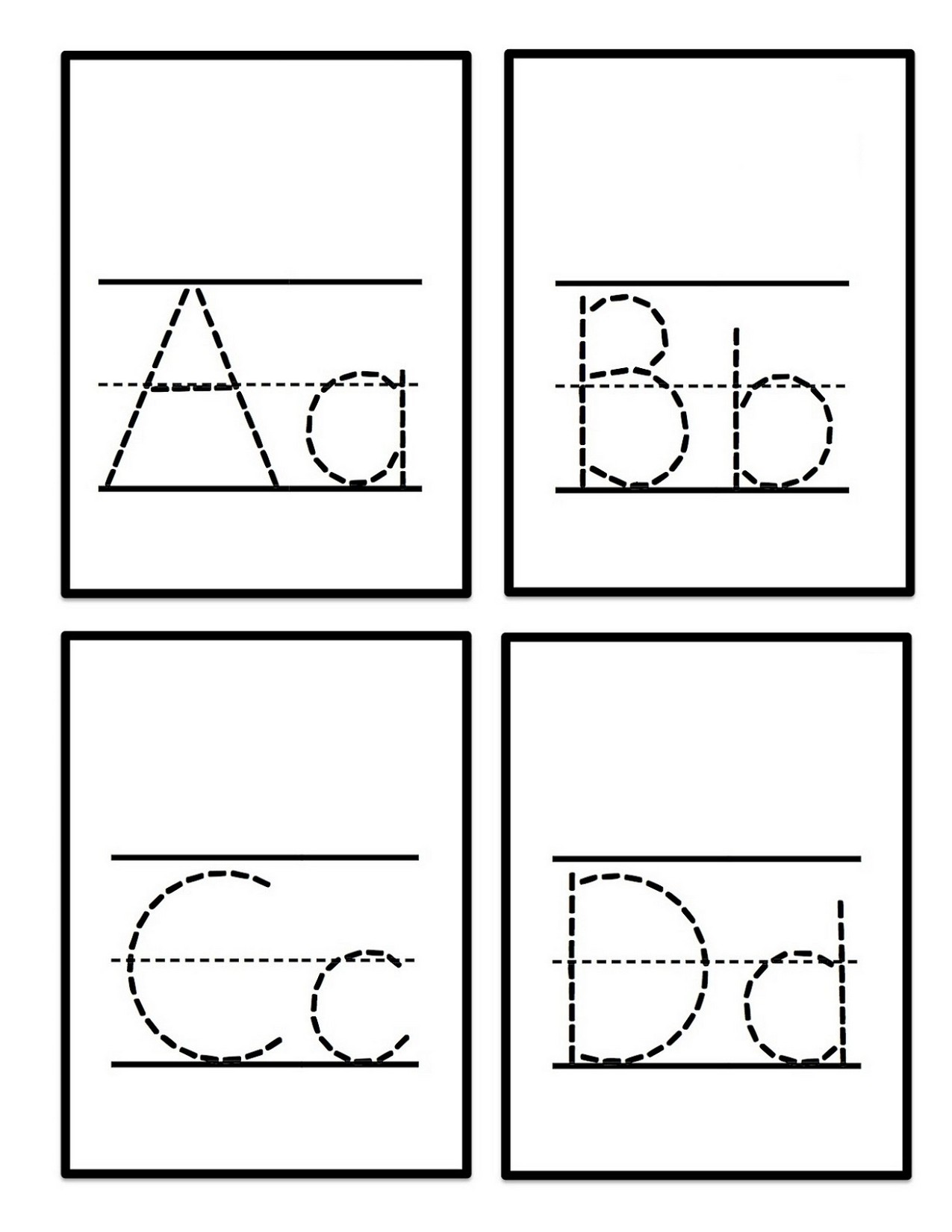 uppercase and lowercase letters tracing worksheet abcd