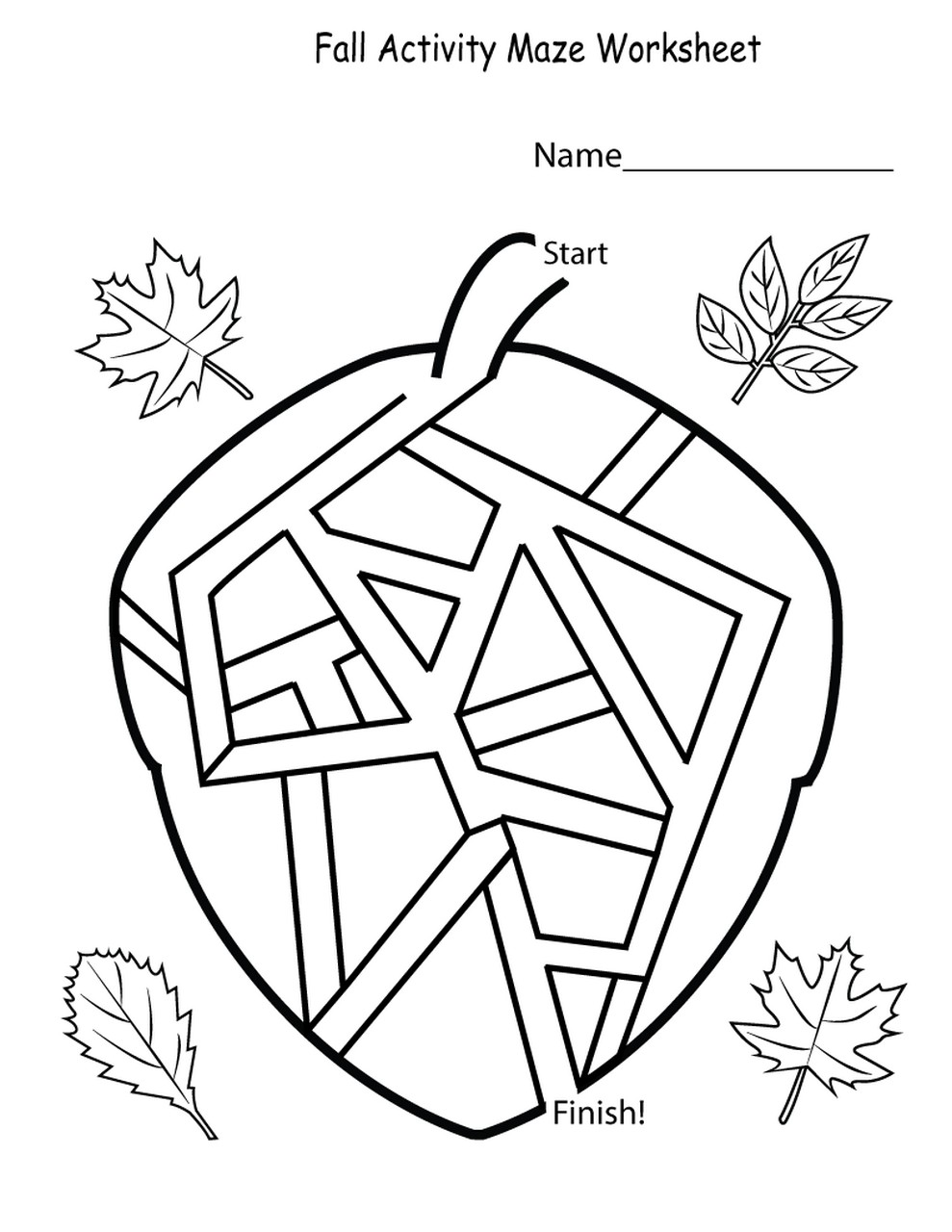 worksheets for kindergarten maze