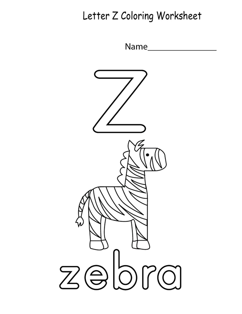 z worksheets printable for kids