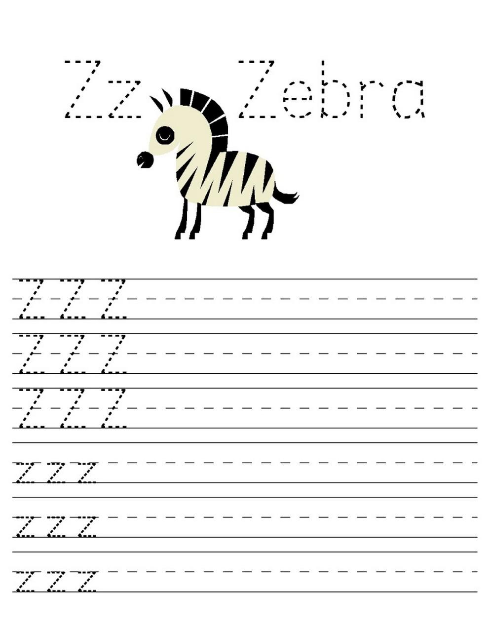 z worksheets printable page
