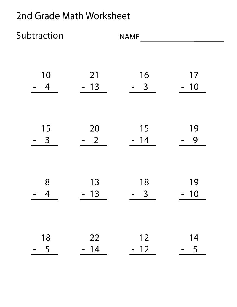 2nd Grade Worksheets Subtraction