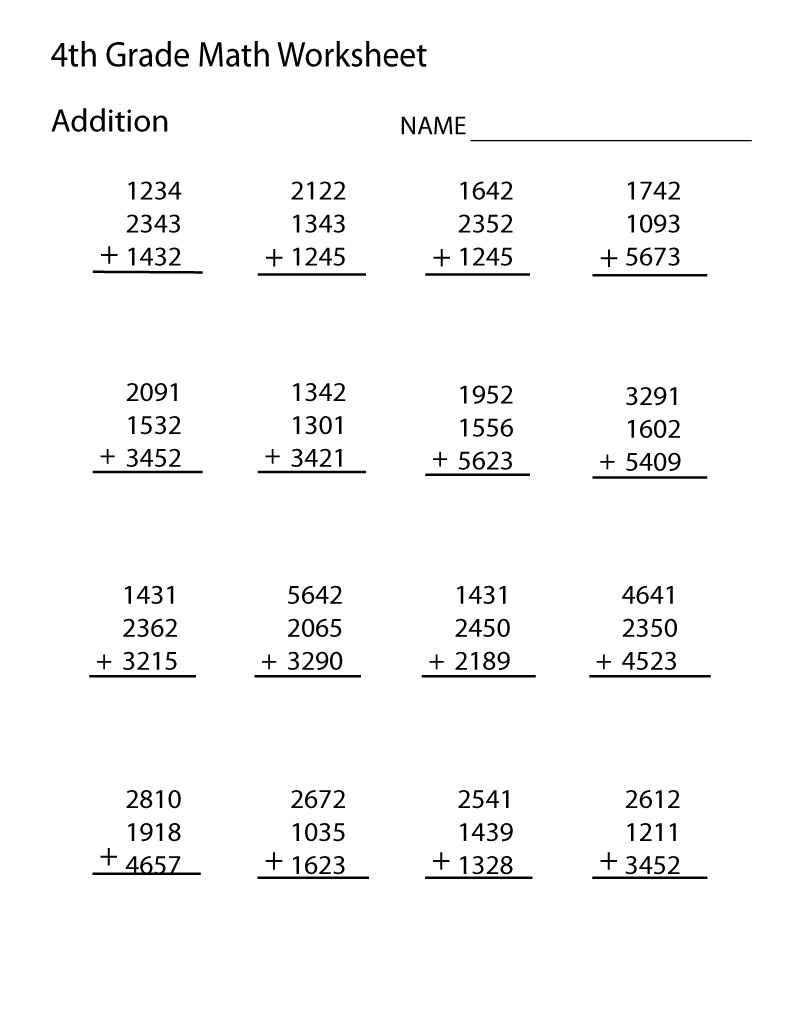Addition facts worksheets 4th grade