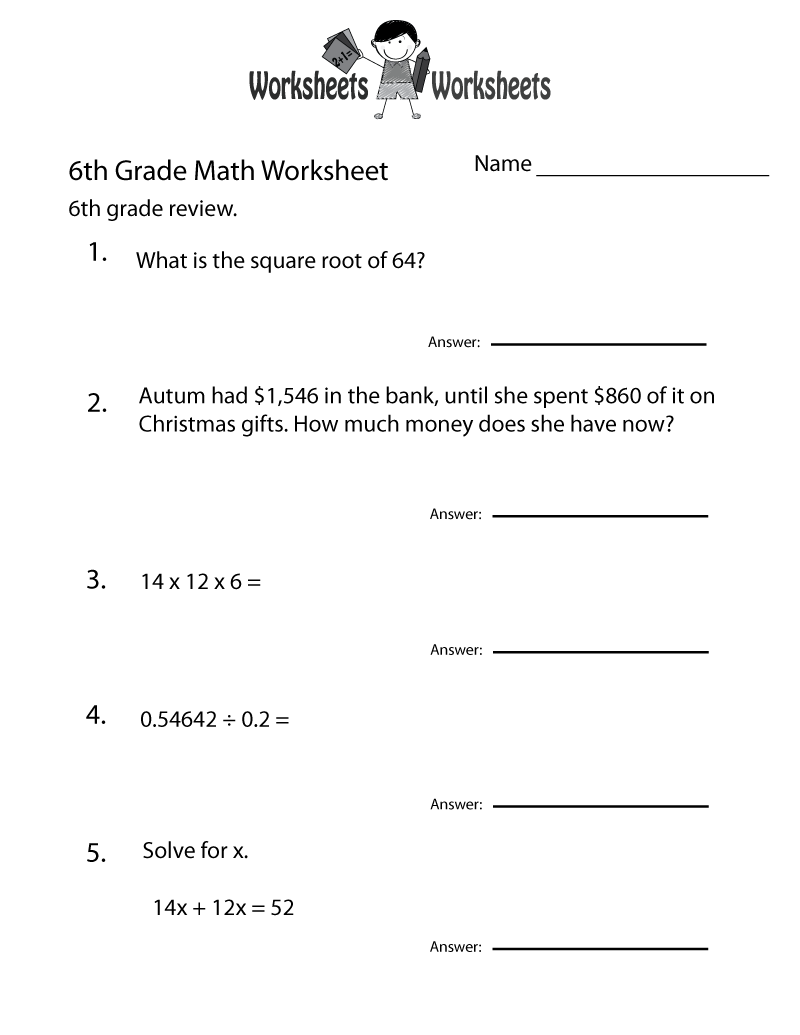 6th Grade Worksheets Questions