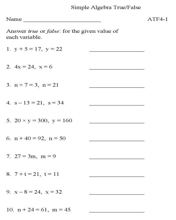 9th Grade Math Worksheets Equation