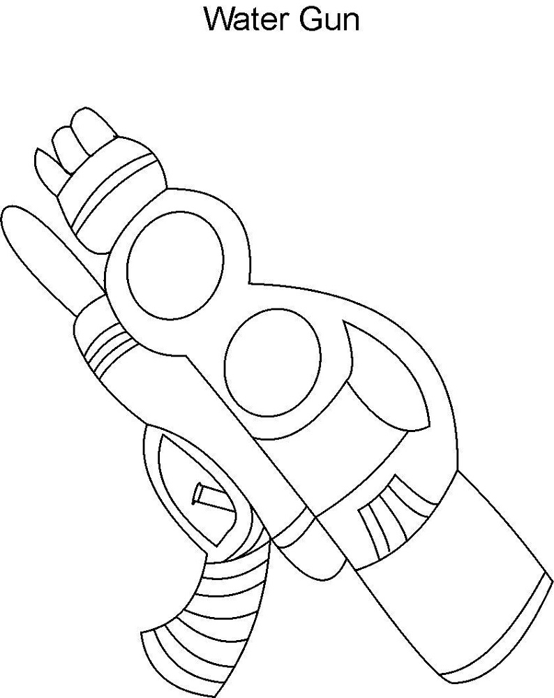 Childrens Colouring Activity Sheets Gun