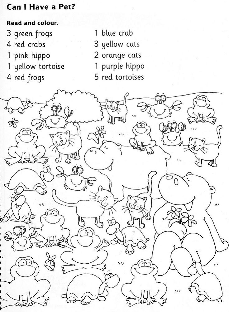 Color Activities for Kindergarten Animals