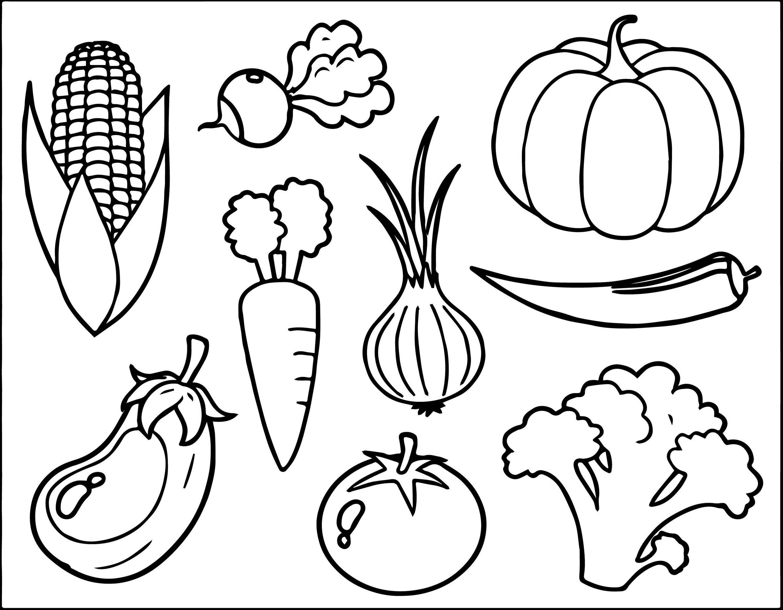 Colouring Pictures for Toddlers Vegetables