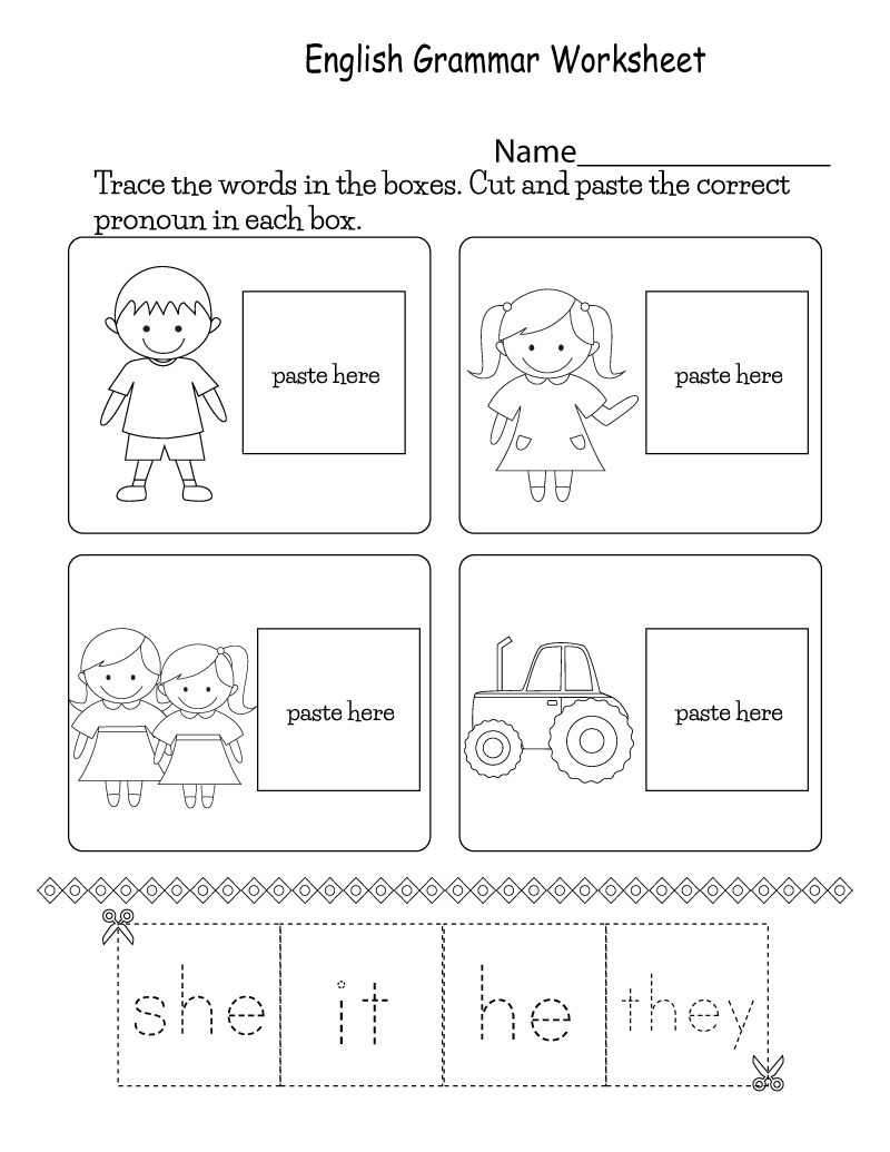 English Worksheets for Children Grammar