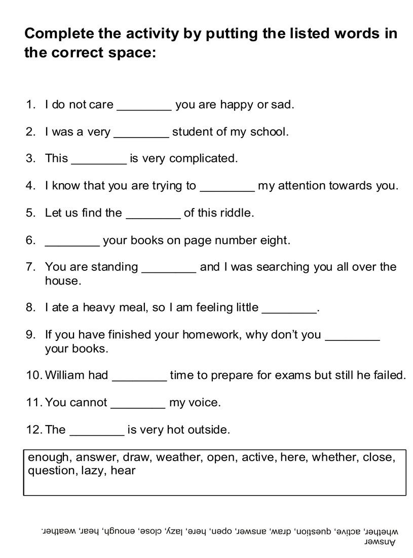 English Worksheets for Children Word