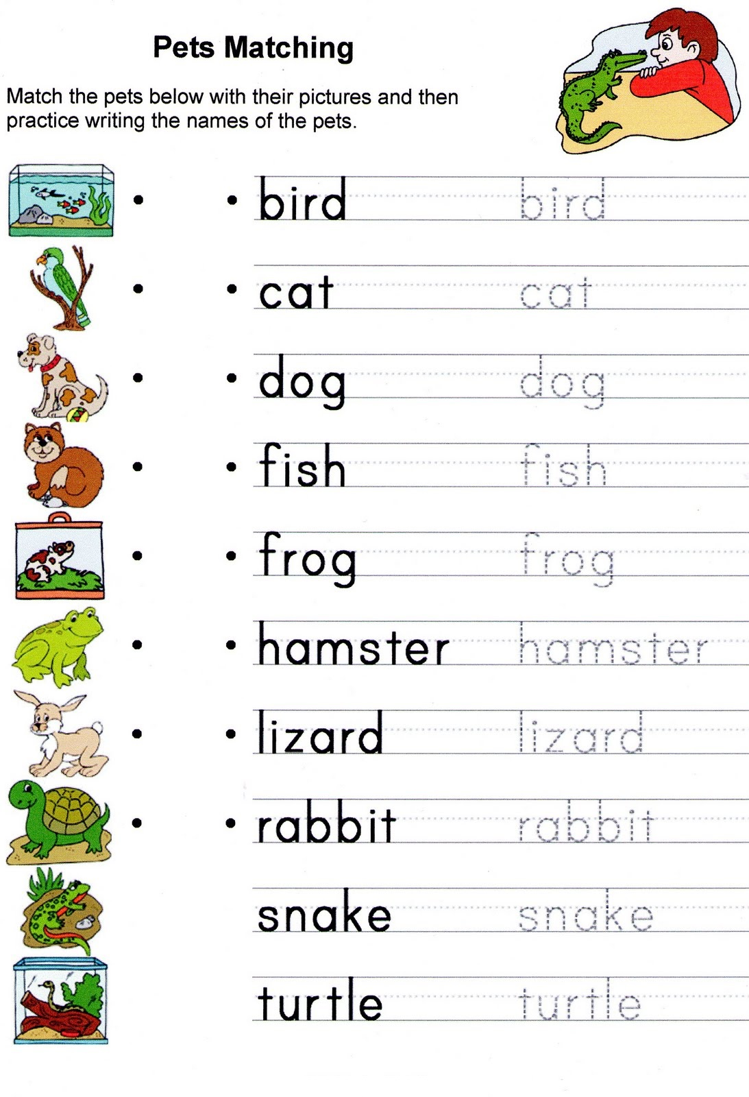 English Worksheets for Kids Animal