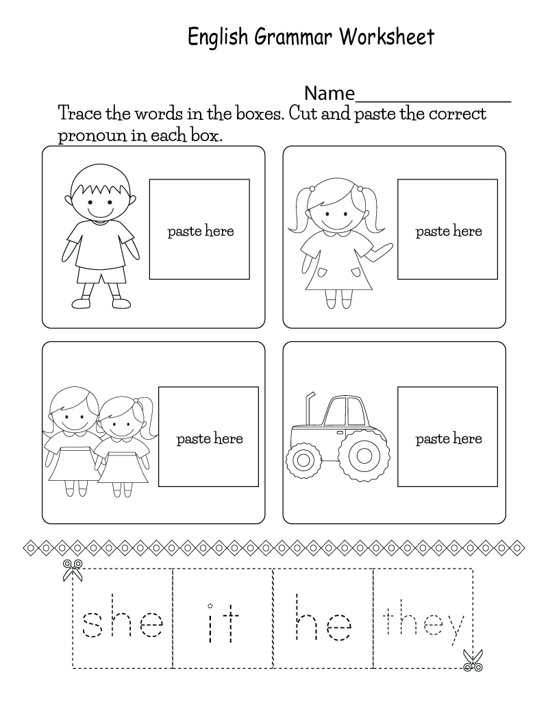 English Worksheets for Kids Grammar