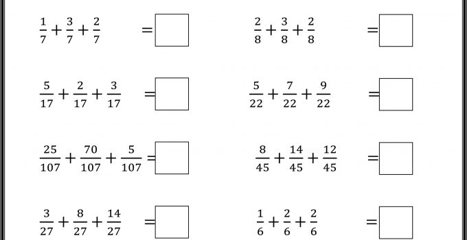 Fourth Grade Math Worksheets Fractions