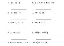 Free Algebra Worksheets Inequalities