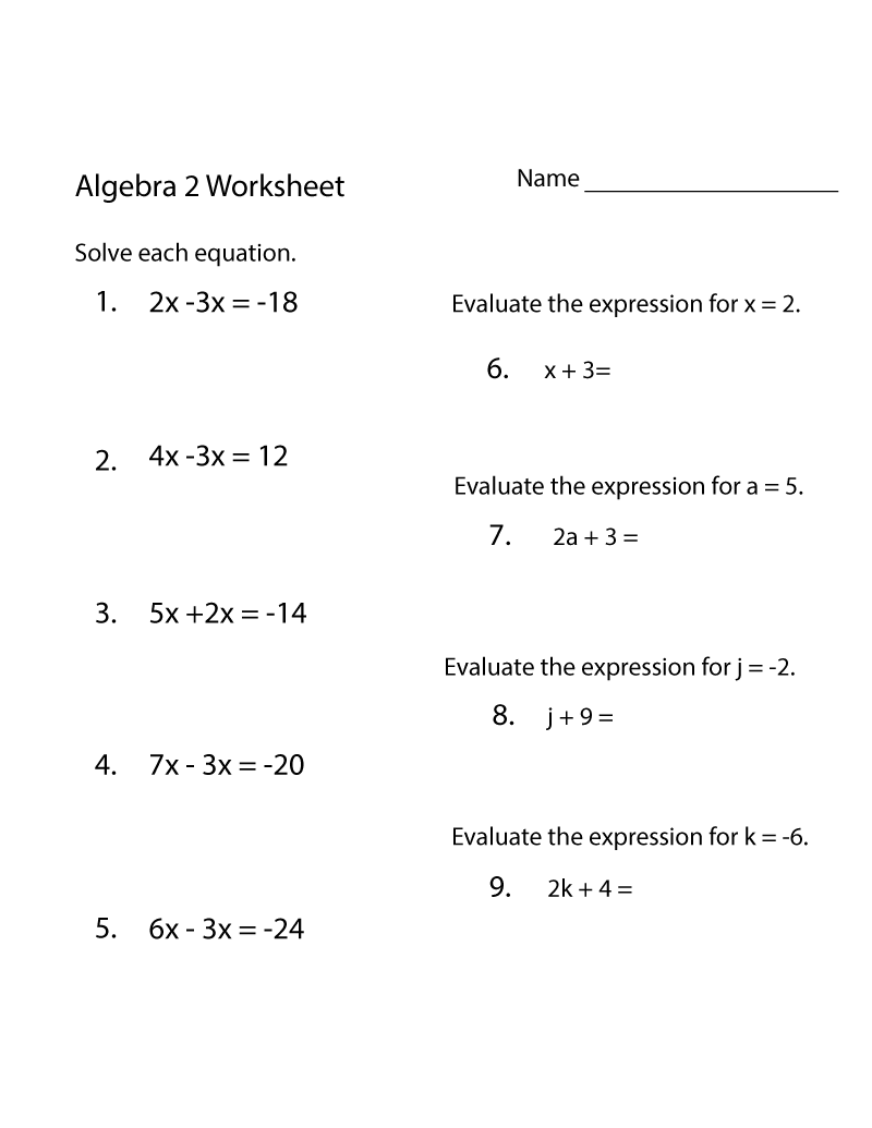 Free Algebra Worksheets Printable