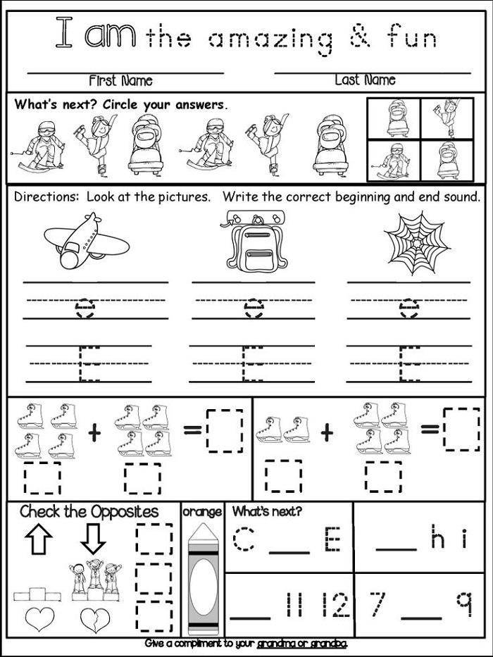 homework kindergarten worksheets