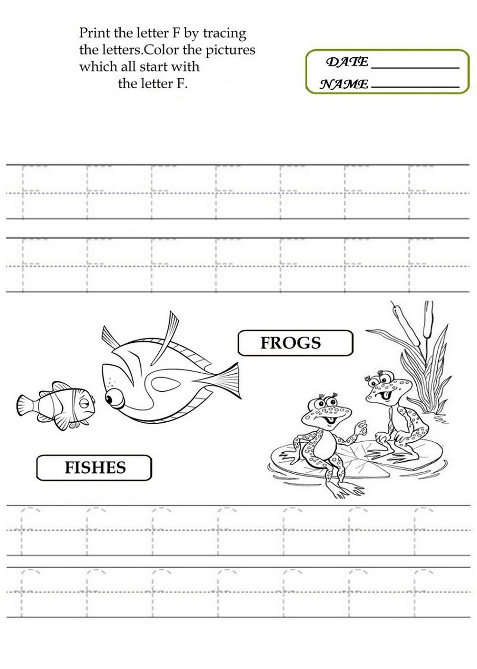 Letter F Worksheet Activities page