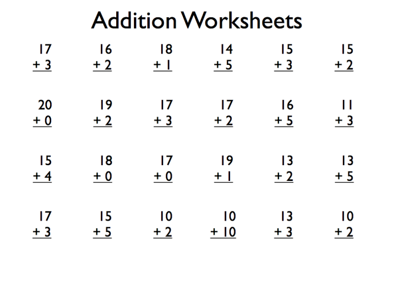 Math Exercises for Kids Addition