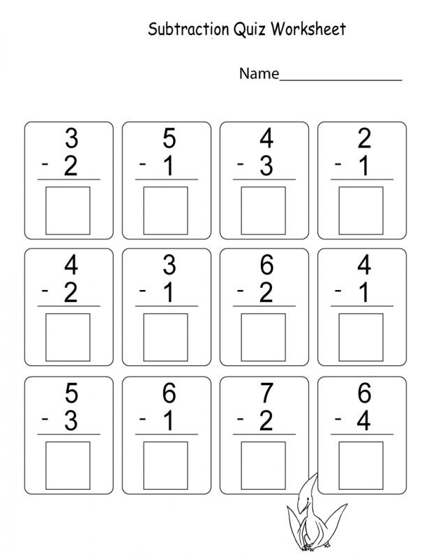Math Worksheets for Kindergarten Addition and Subtraction Quiz