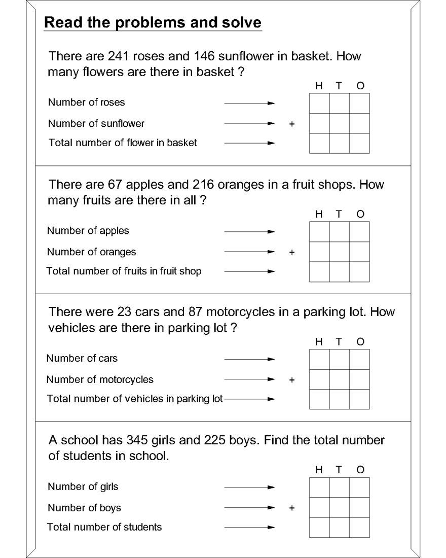 Primary School Maths Worksheets Problems – Learning Printable