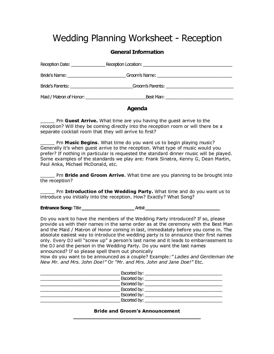 Reception Worksheets Wedding