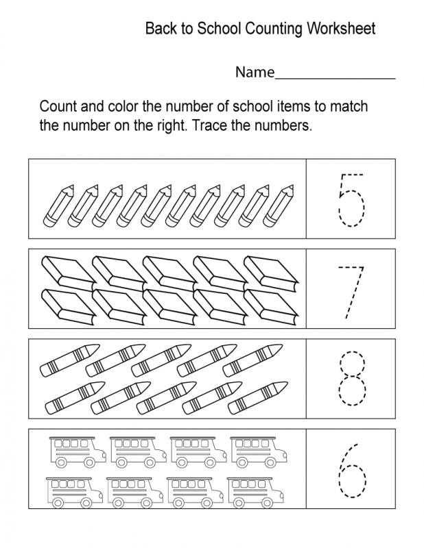 School Worksheets for Kindergarten Counting – Learning Printable