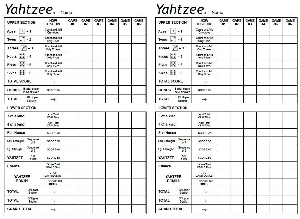 Yahtzee Template free