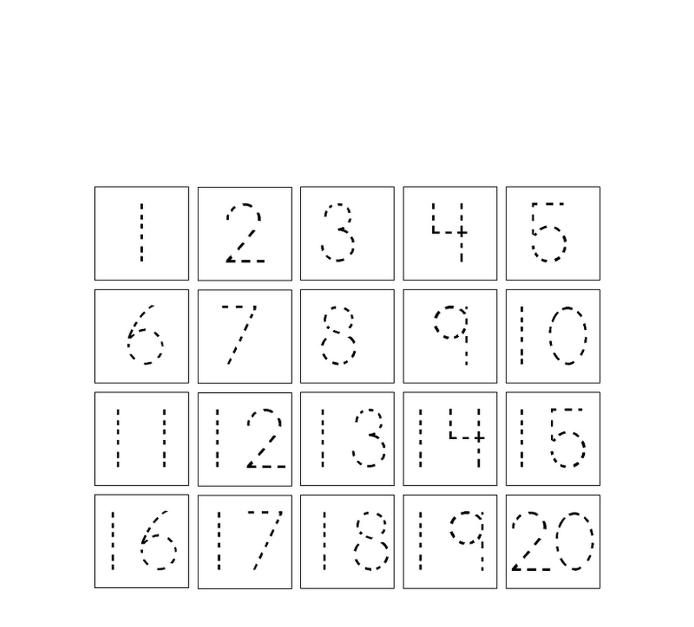 trace number 1-20 worksheet for kids