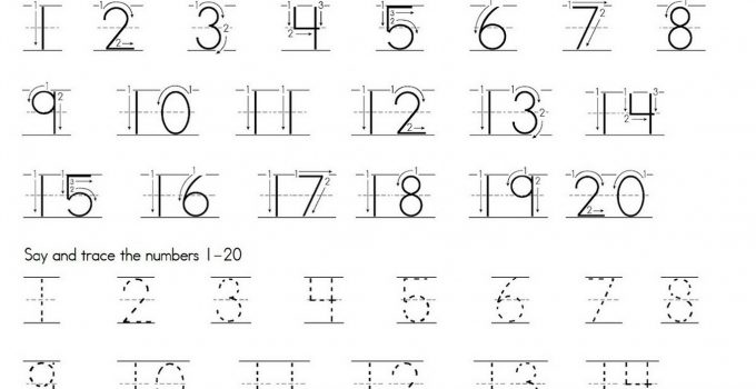 trace number 1-20 worksheet practice